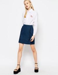 Мини-юбка с оборками на вставке The WhitePepper - Синий