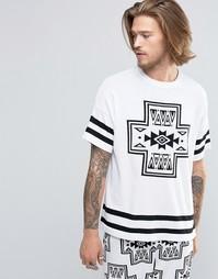 Вязаная футболка с ацтекским узором ASOS - Белый