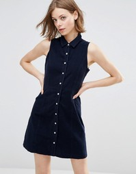 Вельветовое платье‑рубашка без рукавов QED London - Темно-синий