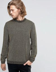 ASOS Crew Neck Jumper in Metallic Yarn - Золотой