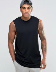 Удлиненная футболка без рукавов с заниженными проймами ASOS - Черный