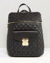 Стеганый рюкзак Love Moschino - Черный