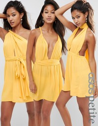 ASOS PETITE Multiway Plunge Mini Beach Dress - Желтый