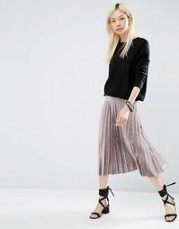 Плиссированная вельветовая юбка миди ASOS - Серый
