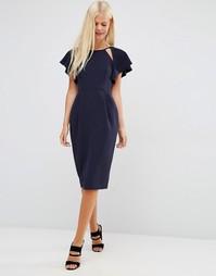 Платье-футляр с оборками на рукавах и вырезом ASOS - Темно-синий