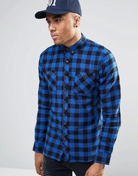 Фланелевая рубашка в клетку D-Struct Alaska - Темно-синий