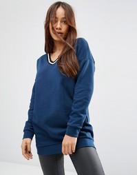 Удлиненный свитшот с полосатой отделкой ASOS - Темный синий