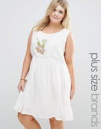 Платье без рукавов с цветочной вышивкой Alice & You - Кремовый