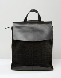 Рюкзак из кожи и замши с тисненой отделкой ASOS - Черный