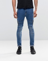 Liquor & Poker Cargo Jeans In Skinny Fit - Стираный деним