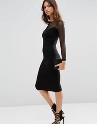 Облегающее платье миди с глубоким вырезом и контрастной сеточкой ASOS
