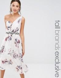 Короткое приталенное платье на одно плечо с цветочным принтом Little M