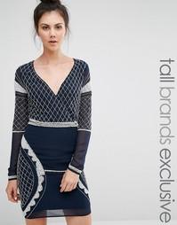 Платье мини с глубоким вырезом, длинными рукавами и бисером Maya Tall