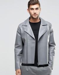 Серая байкерская куртка в кожаном стиле с необработанными краями ASOS