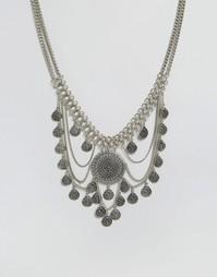 Броское ожерелье с цепочками и дисками Glamorous - Серебряный