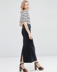 ASOS Denim High Waist Stretch Skirt in Washed Black - Черный