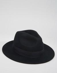 Черная мягкая фетровая шляпа ASOS - Черный