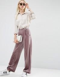Свободные бархатные брюки с широкими штанинами ASOS - Mauve