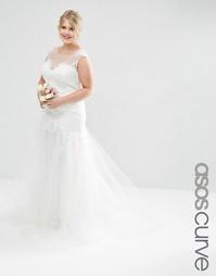 Свадебное платье макси с кружевным лифом и сетчатой юбкой ASOS CURVE