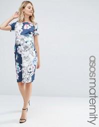 Темно-синее платье для беременных с цветочным принтом ASOS Maternity