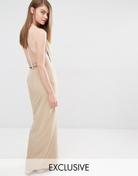 Fame and Partners Sleek Maxi Dress with Faux Pearl Back - Рыжий