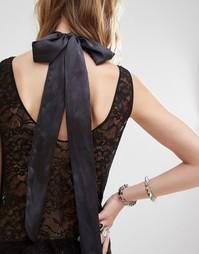 Атласное ожерелье‑чокер с бантом DesignB London - Черный