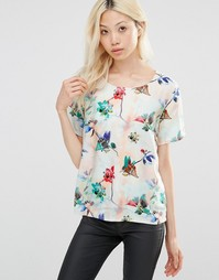 Рубашка с цветочным принтом Y.A.S - Мягкий персиковый