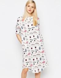 Платье-рубашка с круглым воротником The WhitePepper