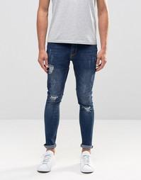 Окрашенные спреем рваные джинсы с нашивкой Hoxton Denim - Синий