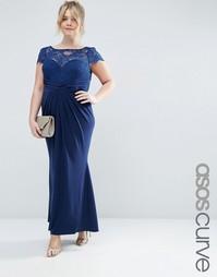 Плиссированное платье макси с кружевным топом ASOS CURVE WEDDING