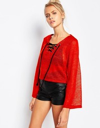 The Ragged Priest Crop Jumper With Lace Up Detail - Оранжевый
