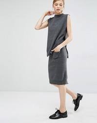 Юбка-карандаш с карманом спереди и разрезом сзади Paisie - Серый