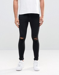 Dr Denim Dixy Extreme Super Skinny Jeans Black Ripped Knees