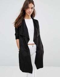 Куртка из искусственной замши с поясом Only Melanie - Черный