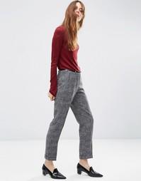 Фактурные узкие брюки с ремнем ASOS - Соль и перец