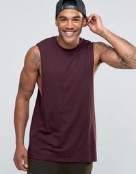 Удлиненная футболка без рукавов с заниженными проймами ASOS