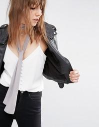 Серый длинный шарф скинни 70-х ASOS - Серый