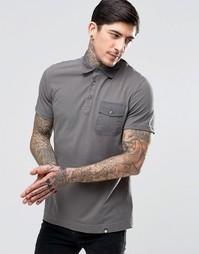 Серая футболка‑поло с нашивками Pretty Green - Темно-серый