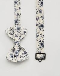 Синий галстук-бабочка с цветочным принтом ASOS - Бежевый