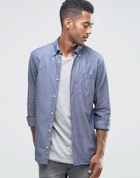 Джинсовая рубашка из ткани шамбре Jack & Jones Premium - Синий
