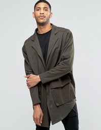 ASOS Oversized Super Longline Military Jersey Duster Jacket - Хаки