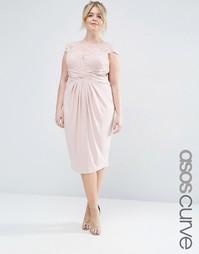 Платье миди со складками и кружевным топом ASOS CURVE WEDDING - Blush