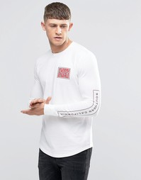 Hollister Long Sleeve T-Shirt With Chest And Sleeve Print Muscle Slim