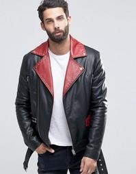 Черная кожаная байкерская куртка с поясом и красными лацканами ASOS