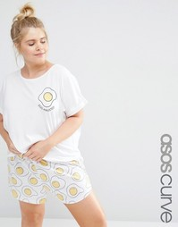 Пижамная футболка и шорты с принтом яиц ASOS CURVE - Белый