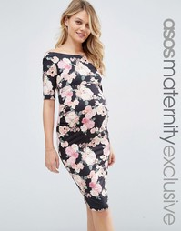 ASOS Maternity Bardot Dress With Half Sleeve in Pink Floral Print