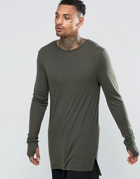 ASOS Fine Rib Super Longline Muscle Long Sleeve T-Shirt With Thumbhole