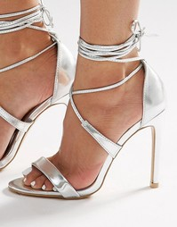 True Decadence Silver Metallic Ankle Tie Heeled Sandals