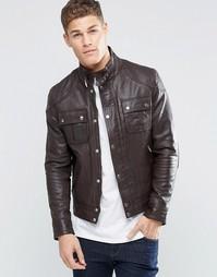 Кожаная куртка с карманом на груди ASOS - Коричневый