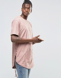 Футболка из ткани под замшу Hand Of God - Розовый